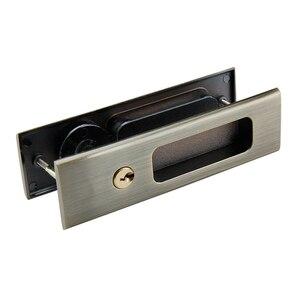 Image 4 - Nero In Lega di Zinco Porta di Legno Maniglia Serratura Con Le Chiavi Per Interno Scorrevole Barn Door hardware
