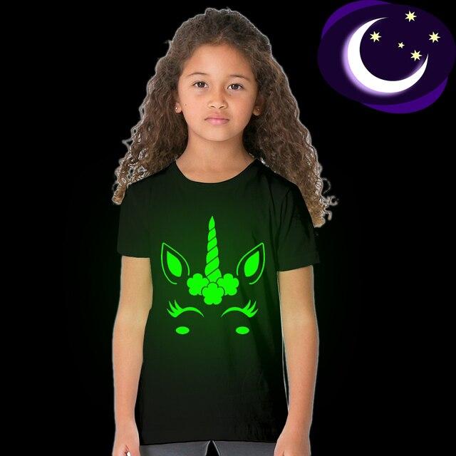 Toddler Girl T-shirt 2 3 4 5 6 7 8 9 10 11 12 Years Unicorn Glow In Dark Kids T Shirt Luminous Children Summer Tshirt 49D2 49D3