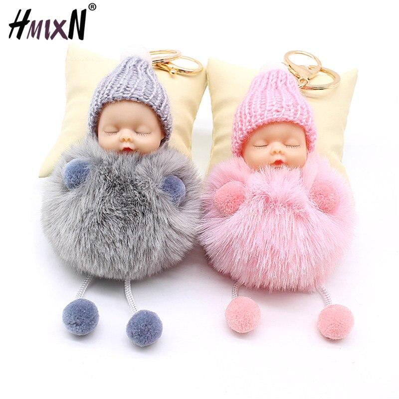 Новый спящий детский Кукольный брелок с помпоном из кроличьего меха брелок для ключей Автомобильный брелок для женщин держатель сумка Подв...