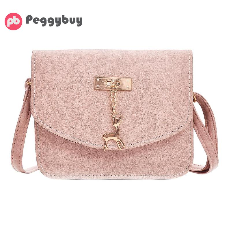 Retro Women Crossbody Bag with Deer Chain Simple Mini PU Leather Shoulder Bag Casual Solid Handbag Famous Brand Messenger Bag