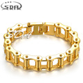 IP gold plated Customized 316L Stainless steel boys Men Biker Bicycle Motorcycle Chain Bracelets bangles YM107 Fashion Jewelry