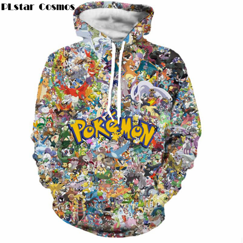 Autumn Newest Funny Cartoon Pokemon Hoodies Men Women Hipster 3D Sweatshirt Cute Pikachu Hooded Sweatshirts Fashion