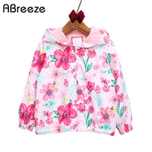 Abreeze 2017 New spring&autumn children coats fashion floral girls hooded jackets 2-7T long sleeve outerwear for kids girls CQ08
