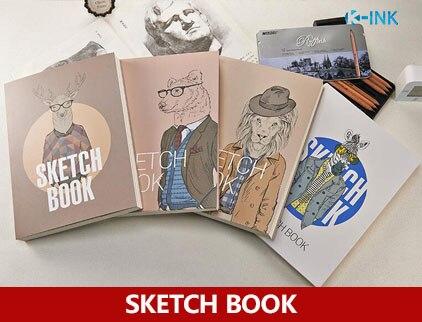 Fogli a cartone animato animale sketch book bianco e kraft