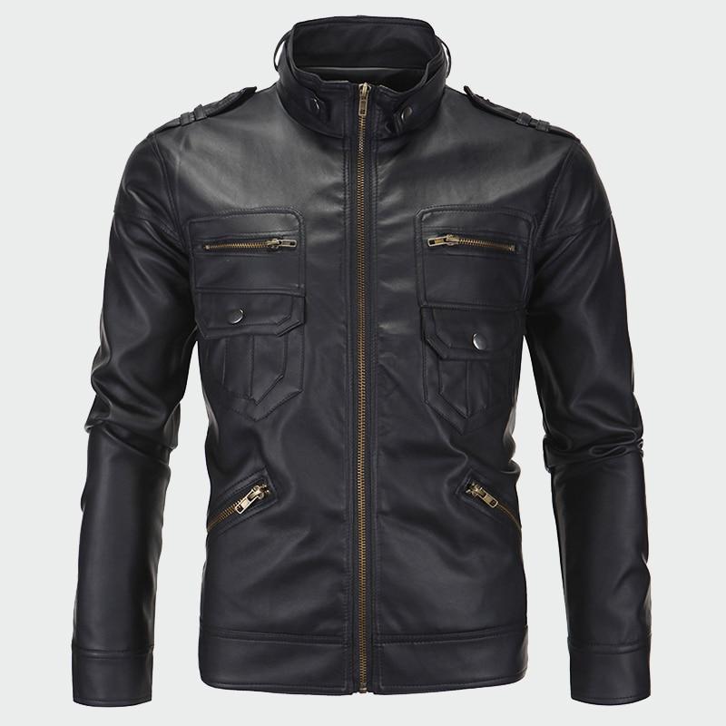 CARANFIER Mens Leather Jackets Winter Coat Men Plus Velvet Outerwear Biker Motorcycle Male Classic Military Tactical
