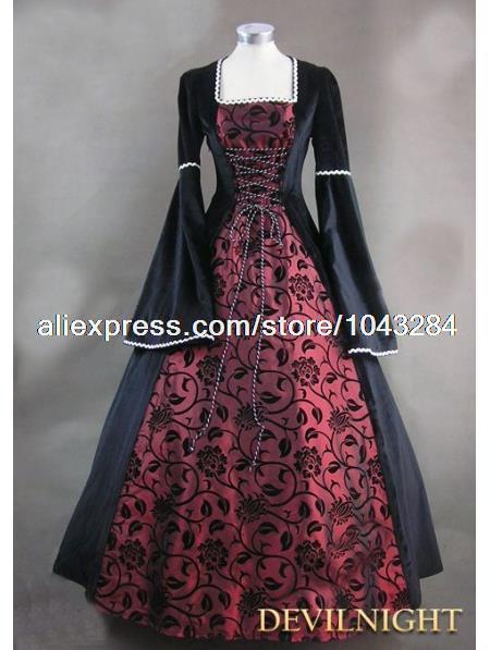 Vaak zwart en wijn rode bloemen patroon middeleeuwse renaissance &VD75