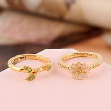 Europe  and the  United  States  Style  Enamel  Glaze  Copper  Trendy  Daisy  Flower  Vine  Gem  Women  Ring