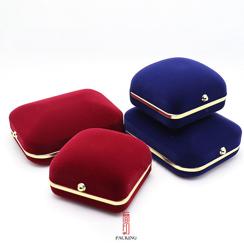 6*6.5cm  Flocking Ring Box The Jewelry Box With Snap Button Fashion With Decoration Gold Metal Edge Free To Choose Colors