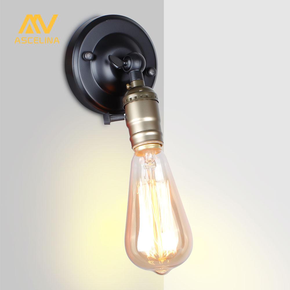 Klug Wand Licht Edison-birne Mini Wand Lampe Knob Schalter Loft Amerikanischen Land Beleuchtung Retro Industrie Vintage Eisen Kleine Wand Lampen Schnelle WäRmeableitung Led-lampen Licht & Beleuchtung