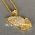 """New 2014 Hip Hop  Gold/Silver Created Diamond Crystal Folded Hands""""God Bless me"""" Women  Pendant Necklace Jewelry Body Chain"""