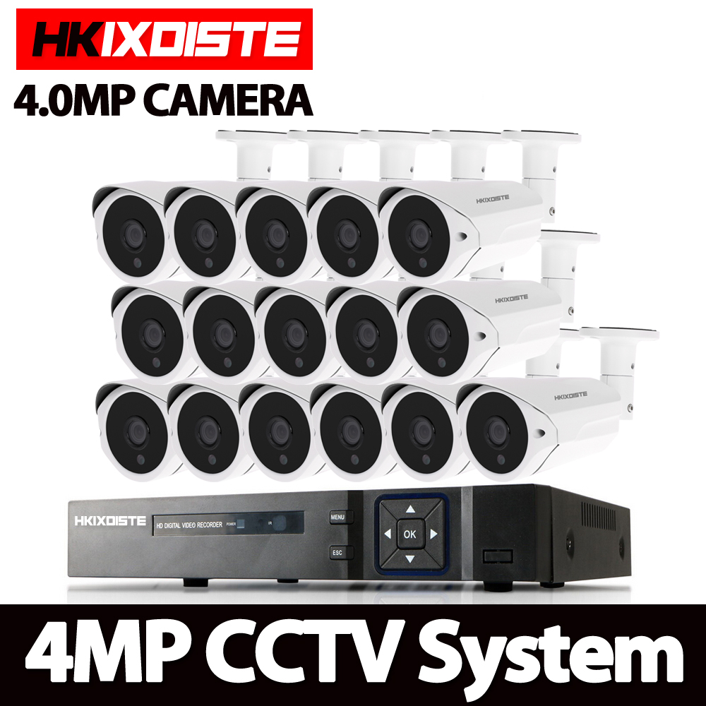 HKIXDISTE 16CH 4.0MP AHD DVR CCTV System 4MP IR Night Vision Indoor Outdoor Camera Home Security Video Surveillance Kit 2TB HDD home security system 16ch h 264 motion detect camera system dvr kit with 800tvl waterproof outdoor ir night vision cctv camera