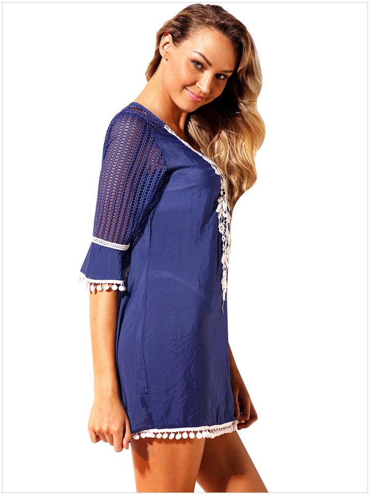 19c50012dda8e 2019 Sexy Girl Plus Size Beach Tunic Tassel Hem Gauze Cover Up Mini ...