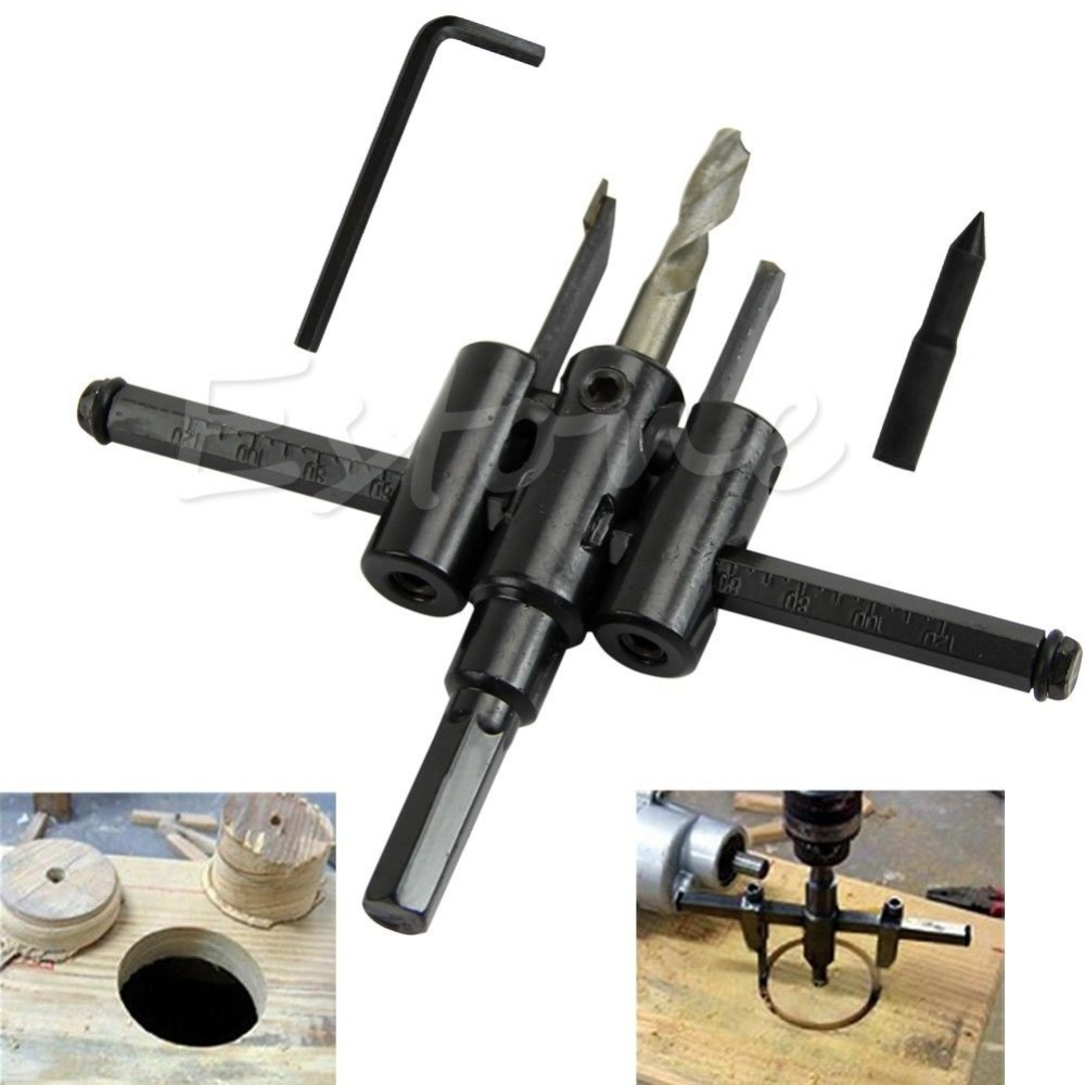 OOTDTY New   Adjustable 30mm-120mm Metal Wood Circle Hole Saw Drill Bit Cutter Kit DIY Tool new 50mm concrete cement wall hole saw set with drill bit 200mm rod wrench for power tool