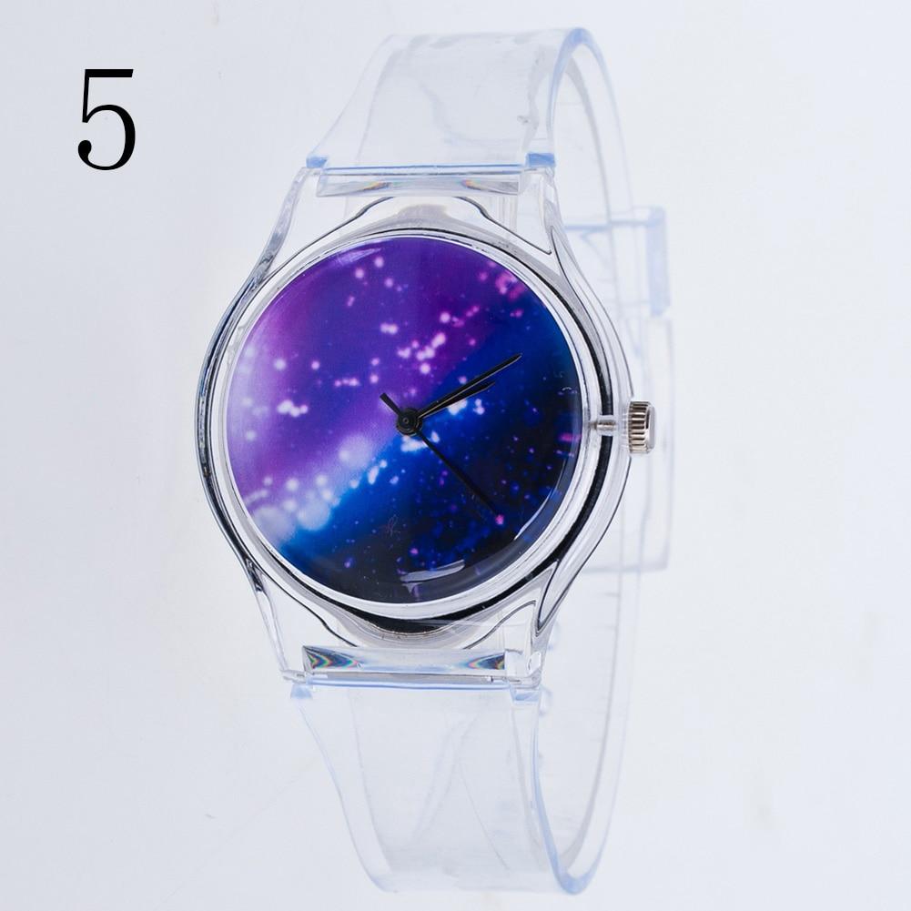 Fashion Women Wristwatches Plastic Cartoon Clock Transparent Strap Student Sport Watches Lady Girls Casual Quartz Watch