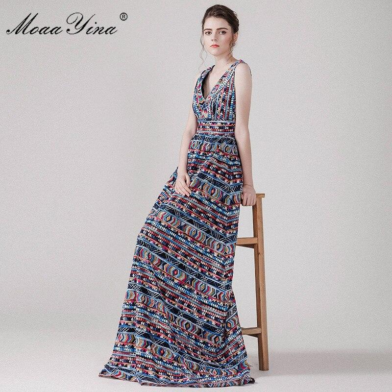 MoaaYina vestido de alta calidad de verano para mujer sin mangas cuello en V bordado Indie Folk fiesta ajustado Retro elegante vestido-in Vestidos from Ropa de mujer    1