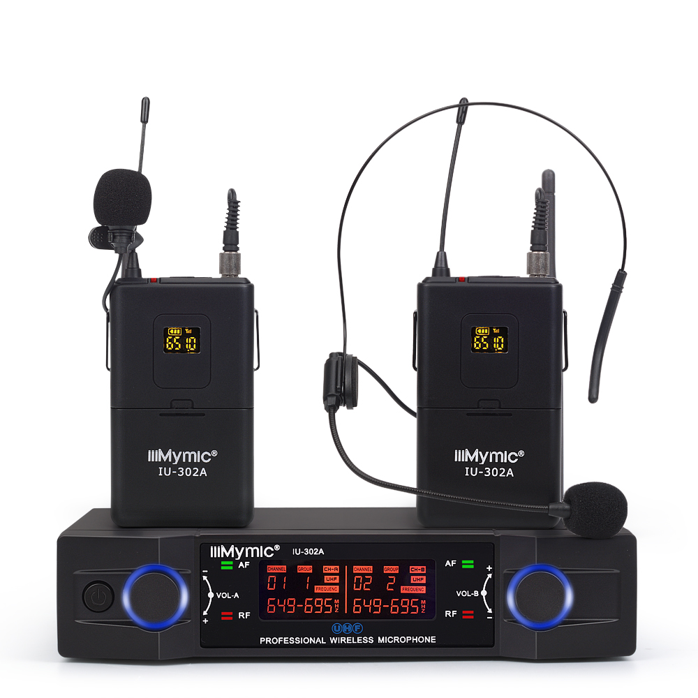 IU-302A Professional UHF 600-700MHz Dual Channel(Single Frequency) 2Bodypack+2Lapel+2Headset Wireless Microphone Mic System
