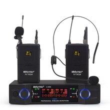 IU 302A Professionale UHF 600 700MHz A Doppio Canale (frequenza Singola) 2 pack + 2 Risvolto + 2 Auricolare Senza Fili Mic del Microfono di Sistema