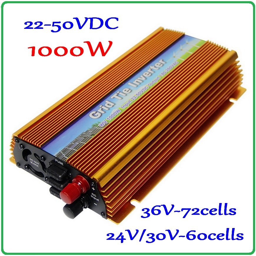 1000W 22-50VDC MPPT Grid Tie Inverter 30V/36V DC to AC 220V or 110V Pure Sine Wave Output solar wind on grid inverter