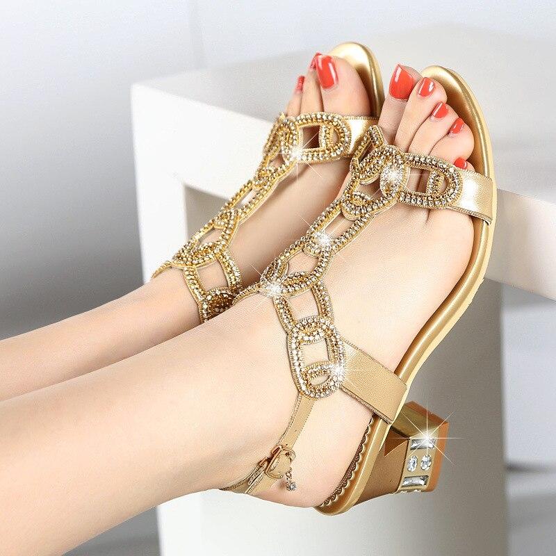 Mujer Gold Imitación Bohemia purple Sandalias De Zapatos Grueso Antideslizante Con Diamantes 2019 Cristal Nueva Verano Moda rIq6ISwnx