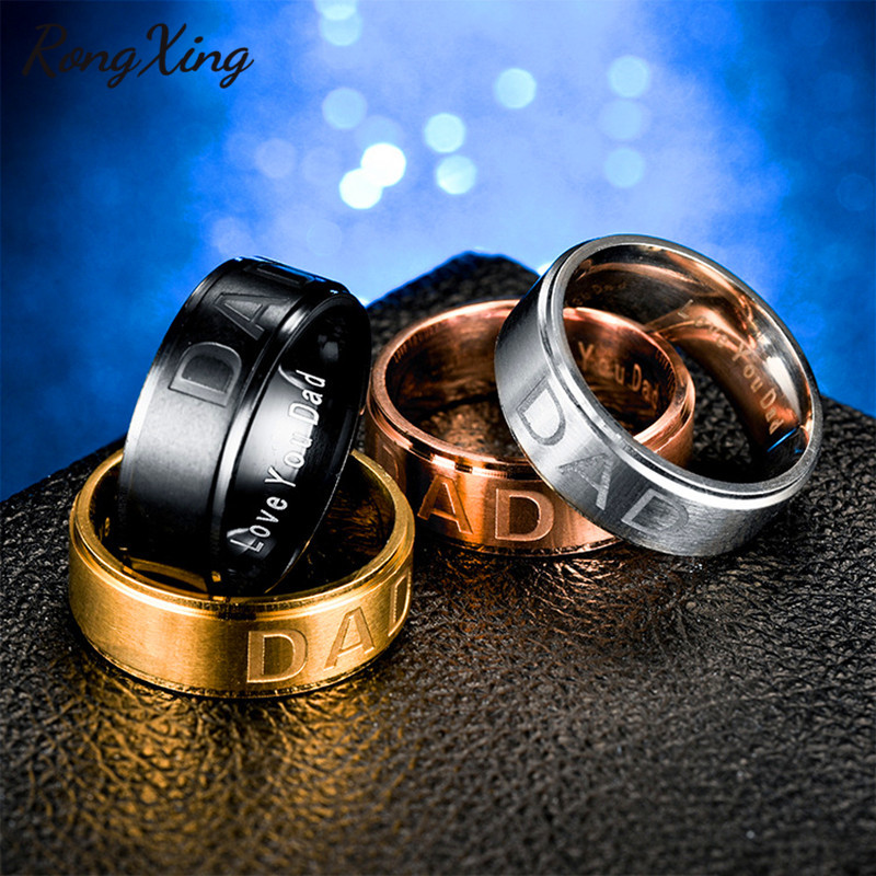 RongXing New Style Stainless Steel Letters Dad Rings For Men Titanium Steel Gold/Silver/Black Color Male Finger Ring Father Gift titanium ring