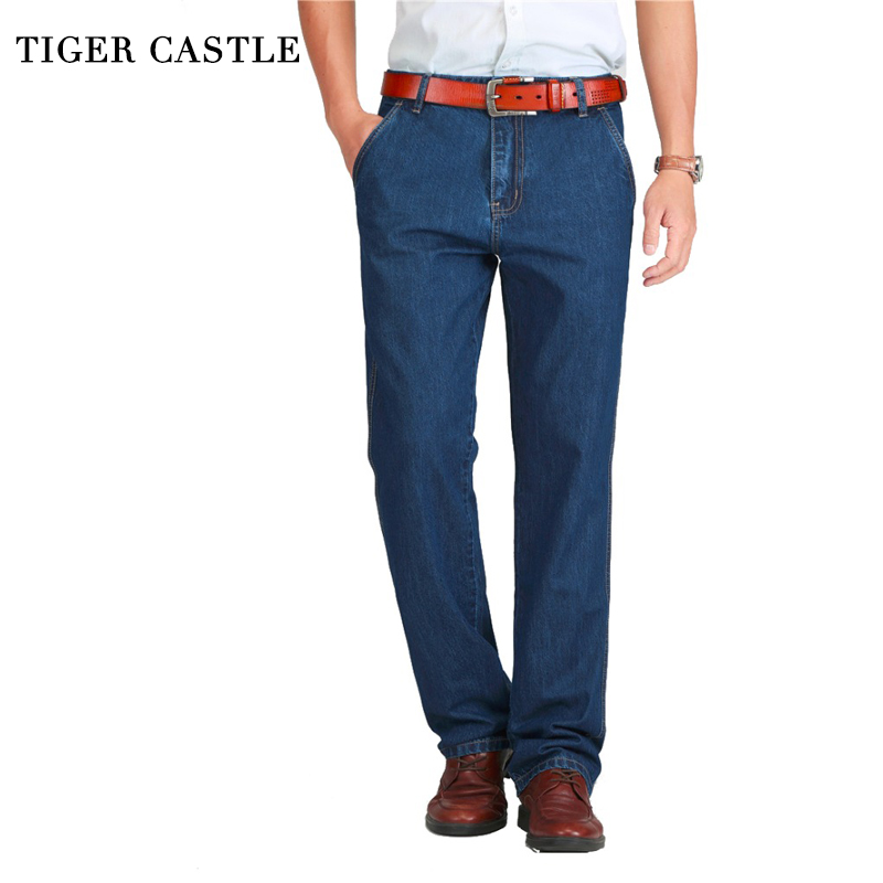 TIGER CASTLE Spring Summer Men Jeans Slight Classic Denim Pants Male Washed Baggy Blue Designer Jeans