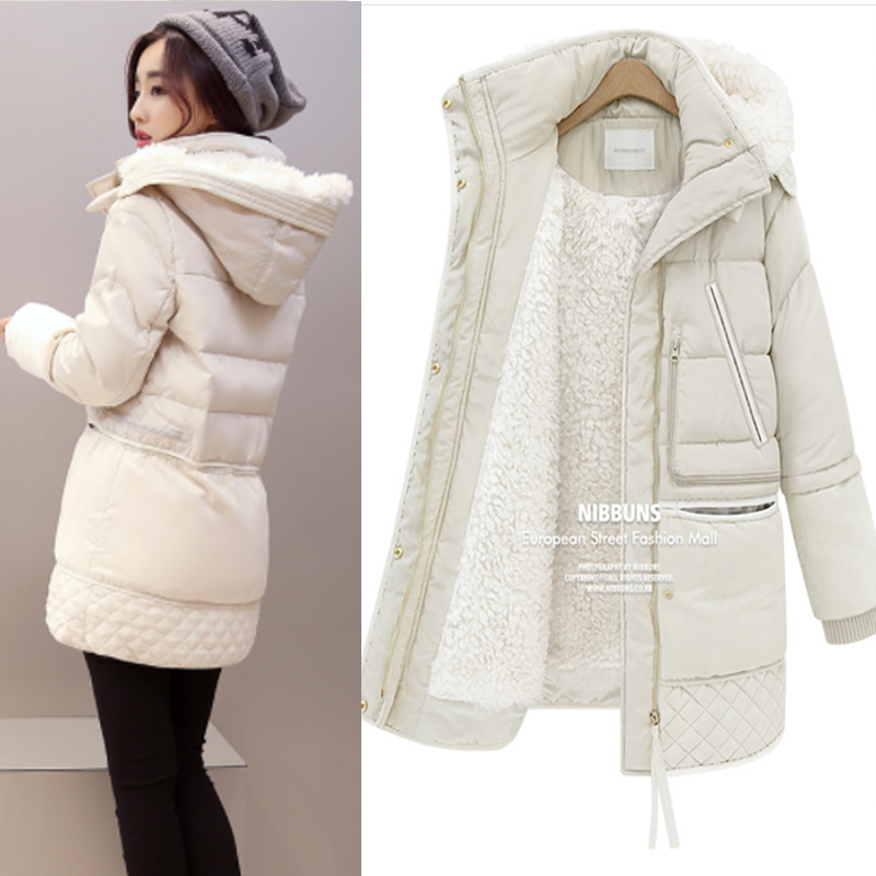Women Winter Plus Size 3XL Hooded Solid Color Lambswool Thick Padded Jackets Warm Mid Length Coats