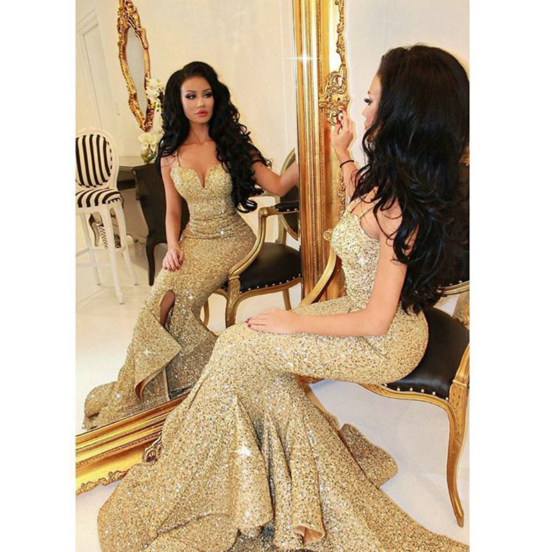 2016 Gold Sequined Prom Dresses Real Images Sexy Spaghetti Straps ...