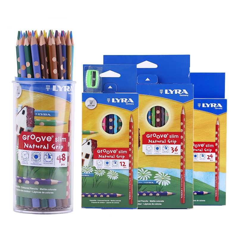 LYRA Concave hole pencil 12/24/36 color children pupil art painting triangular color pencil image