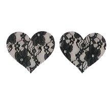 50 pairs (100 Pcs) /lot Lace women Heart Nipple Pasties Breast Bra Nipple Cover Paste Adhesive erotic lingerie Stickers