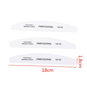 Image 2 - Professional 50pcs/lot White Nail File Sandpaper 100/180 Grits Half Moon Sanding Buffer Blocks Cuticle Remover Nail Beauty Tools