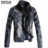 KMETRAM 2017 Spring And Autumn Large Size Men S Jeans Jacket Korean Slim Retro Denim Jacket
