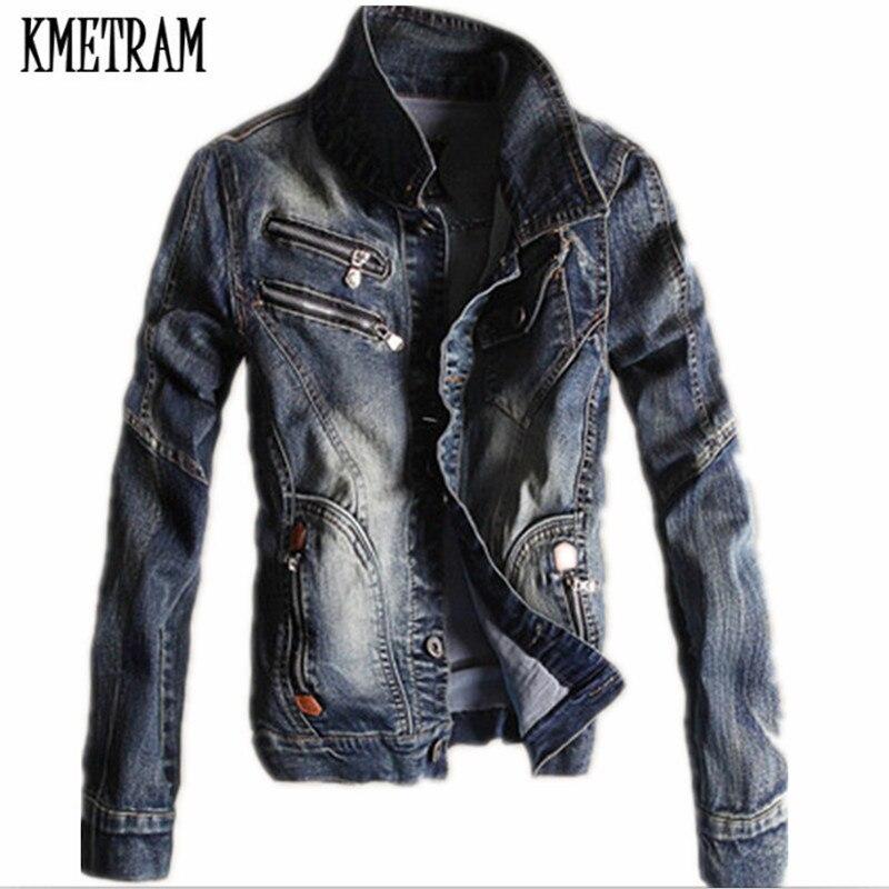 Kmeram 2019 Весенняя и Осенняя мужская джинсовая куртка большого размера Корейская тонкая Ретро джинсовая куртка мужская Куртка Jaqueta Masculino HH272