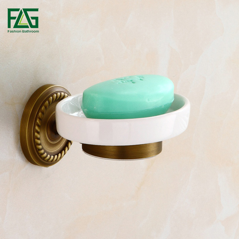 FLG High Quality Solid Brass Soap Dishes For Showers Shower Soap Holder Wall Mounted Antique Bronze Bathroom Accessories 80105 free shipping solid brass orb oil rubbed bronze bath form bathroom holder soap dishes wall mounted holder rack