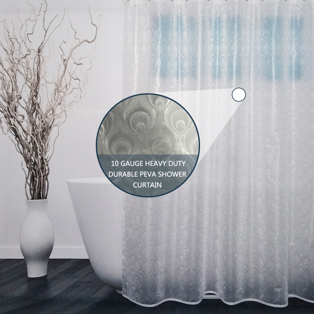 UFRIDAY 3D Peacock Feather PEVA Shower Curtain Semi-transparent Bath Screens for Bathroom Plastic Bathroom Curtain Bath Curtain