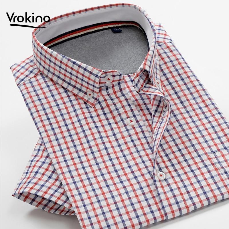 2020Summer New 7XL 8XL 9XL 10XL Men's Business Casual Plaid Short Sleeve Shirt Classic Men's Cotton-blend Loose Shirt(China)