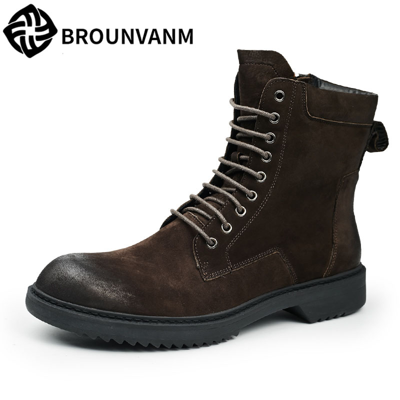 The British men winter leather boots high shoes for Martin retro zipper boots warm thick desert breathable shoes fall trendboots in europe and america heavy bottomed martin boots british style high top shoes shoes boots sneakers