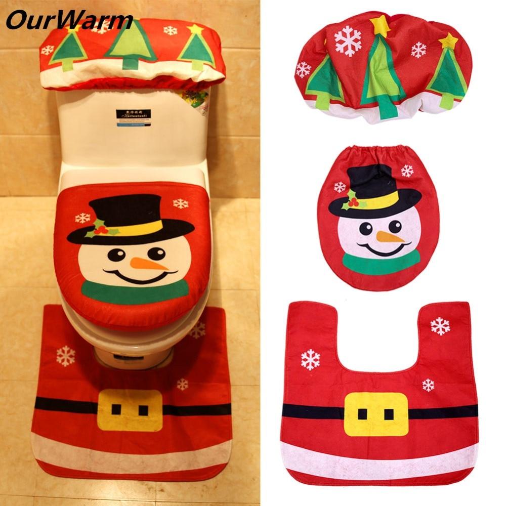 Toilet Foot Pad Seat Cover Cap Full Set Christmas Decorations Santa Claus Elk Snowman Type Radiator Cap Mat Bathroom Accessory