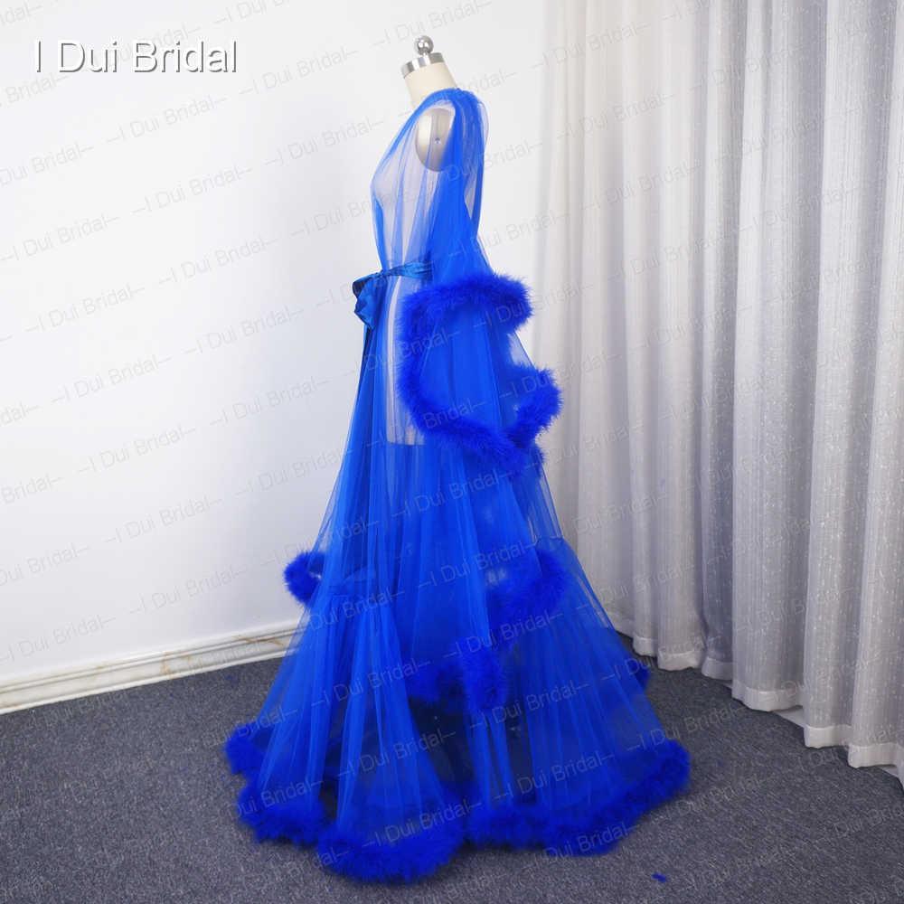25b21acc3b ... Royal Blue Feather Bridal Robe Muslim Long Sleeve Feather Robe  Masquerade Dance Dress Homecoming Dress ...