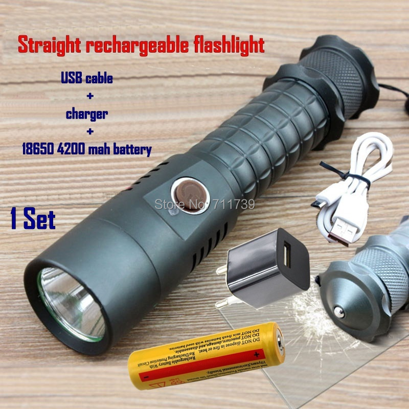 1Set Straight rechargeable LED Flashlight Self-defense Cree XML Led Torch Camping Lamps Usb cable+charger+18650 battery-X2 crazyfire led flashlight 3t6 3800lm cree xml t6 hunting torch 5 mode 2 18650 4200mah rechargeable battery dual battery charger