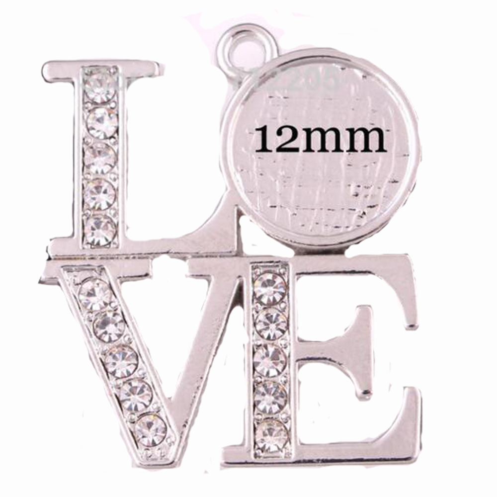 DIY Jewelry rhodium plated 20pcs a lot Free to paste a photo or other images crystal LOVE pendant