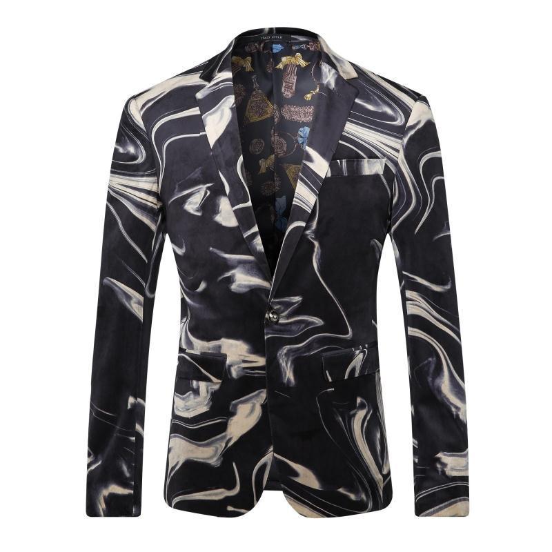 Men Suit Jacket 2016 Autumn Winter Floral Blazer Men Stage Costume Homme Luxe Unique Mens Blazers Vintage Suit Casual Jacket