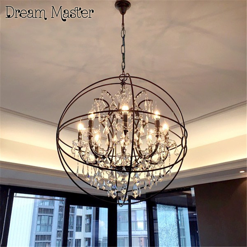 American style retro industrial wind European living room  restaurant lamp clothing shop iron birdcage  crystal  Chandelier american style retro industrial wind european living room restaurant lamp clothing shop iron birdcage crystal chandelier
