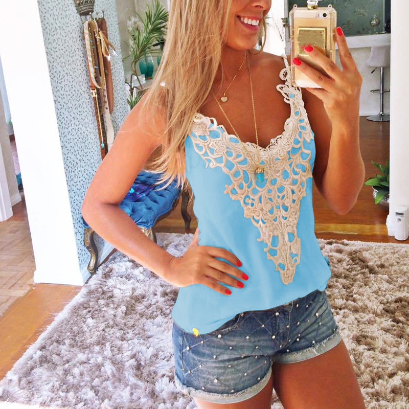 2018 Sexy Summer Camisole Women V-Neck Straps Boho Camis Casual Lace Sleeveless Vacation Beach Female Vest   Tank     Tops   Plus Size