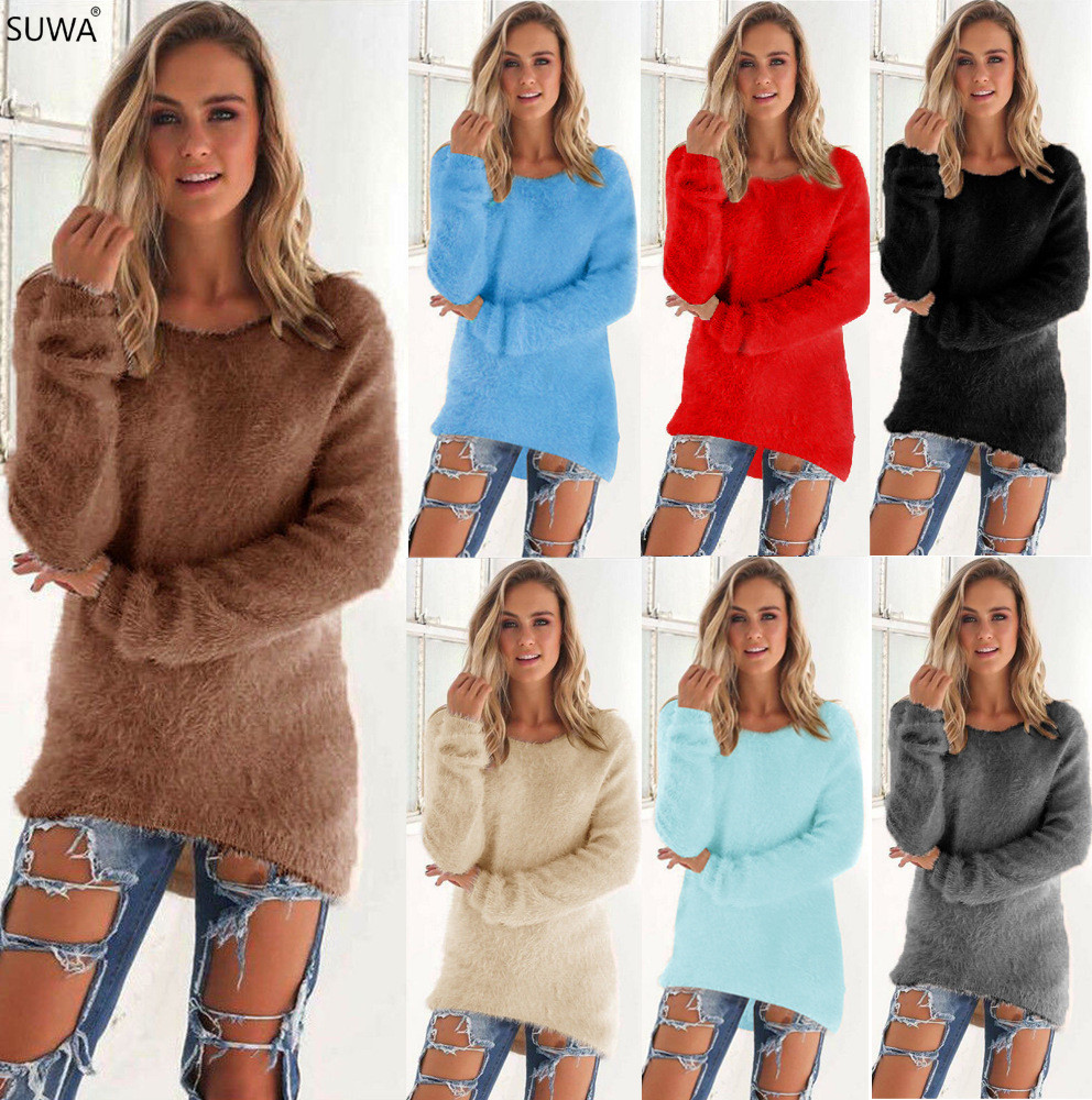 SUWA Women Long Sleeve Autumn Winter Sweater O Neck Casual Pullovers Christmas Women Sweaters And Pullovers 0179
