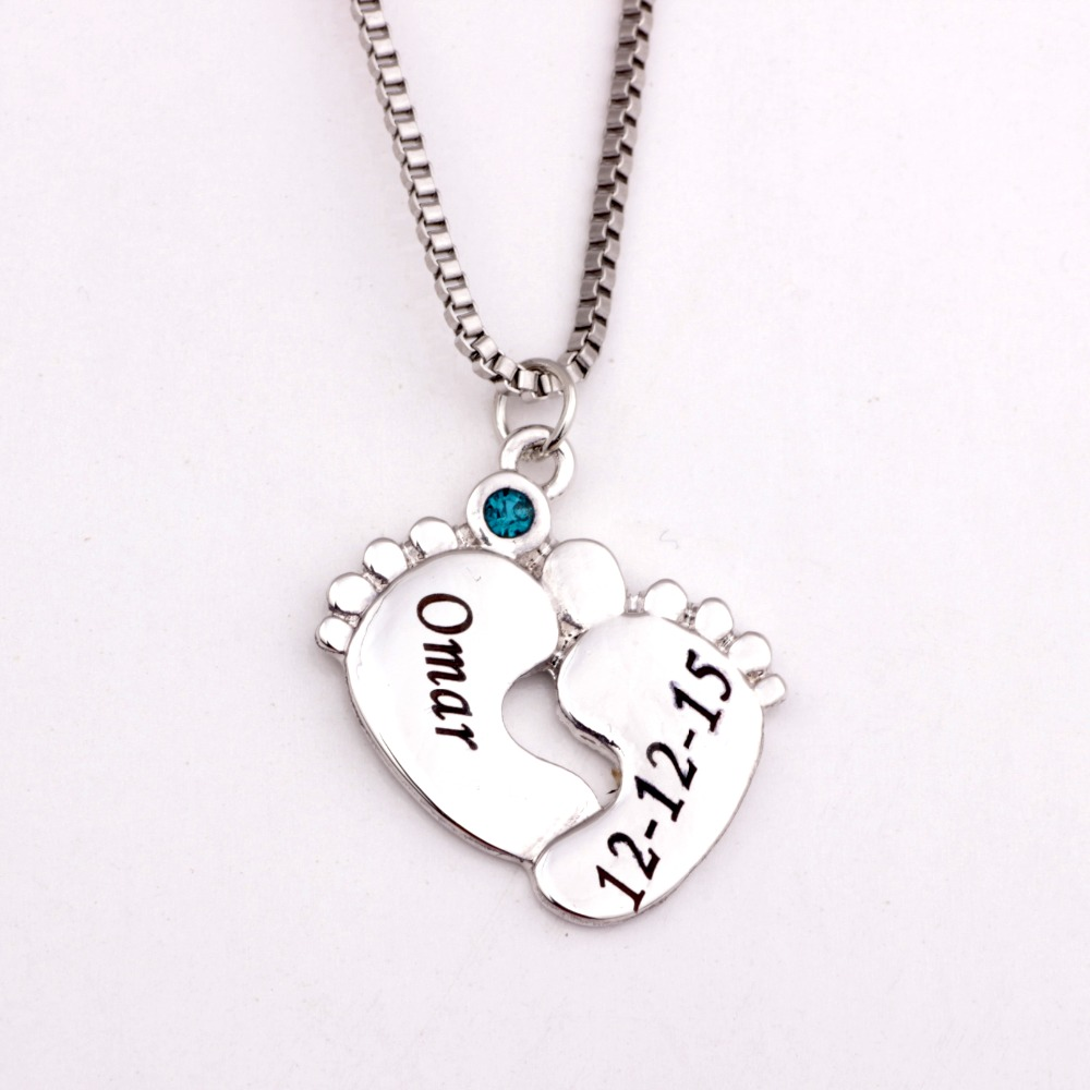 Personalized Baby Feet Necklace with Birthstones New Arrival Birthstones Long Necklaces Custom Made Any Name YP2494