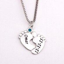 Personalizado Collar con Piedras de Nacimiento de Los Pies Del Bebé Nueva Llegada YP2494 Birthstones Collares Largos Por Encargo Cualquier Nombre