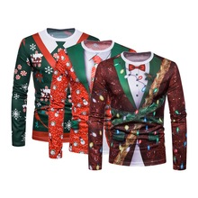 Christmas Tree Print Men Tshirt O Neck long Sleeve Tee Top Casual Hip Hop 3D Tee Shirt Camisetas Hombre Party Funny T Shirts