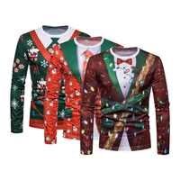 Árbol de Navidad Camisetas de hombres impresas O cuello de manga larga Tee superior Casual Hip Hop 3D camiseta Camisetas Hombre Camisetas divertidas de fiesta