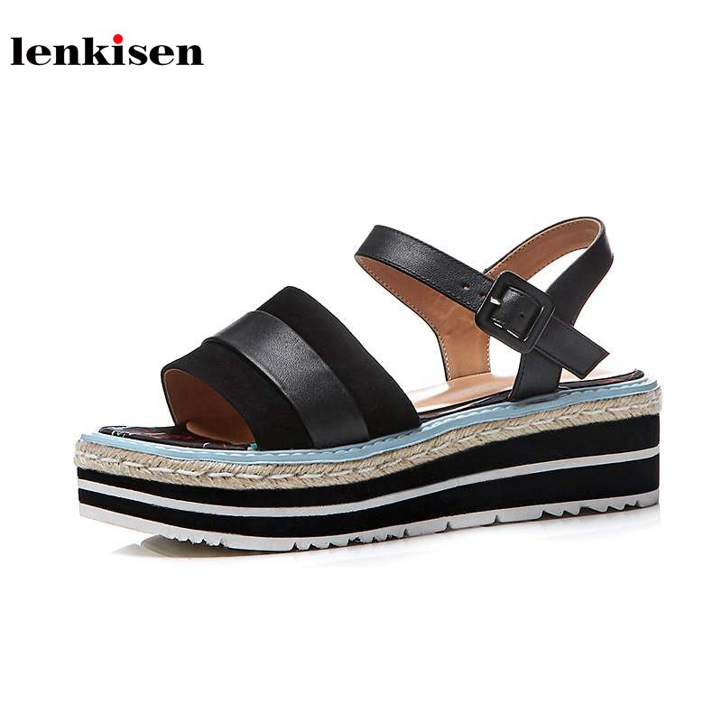 Lenkisen 2018 new arrival peep toe solid buckle cow leather causal shoes wedges young lady preppy med heel women sandals L27