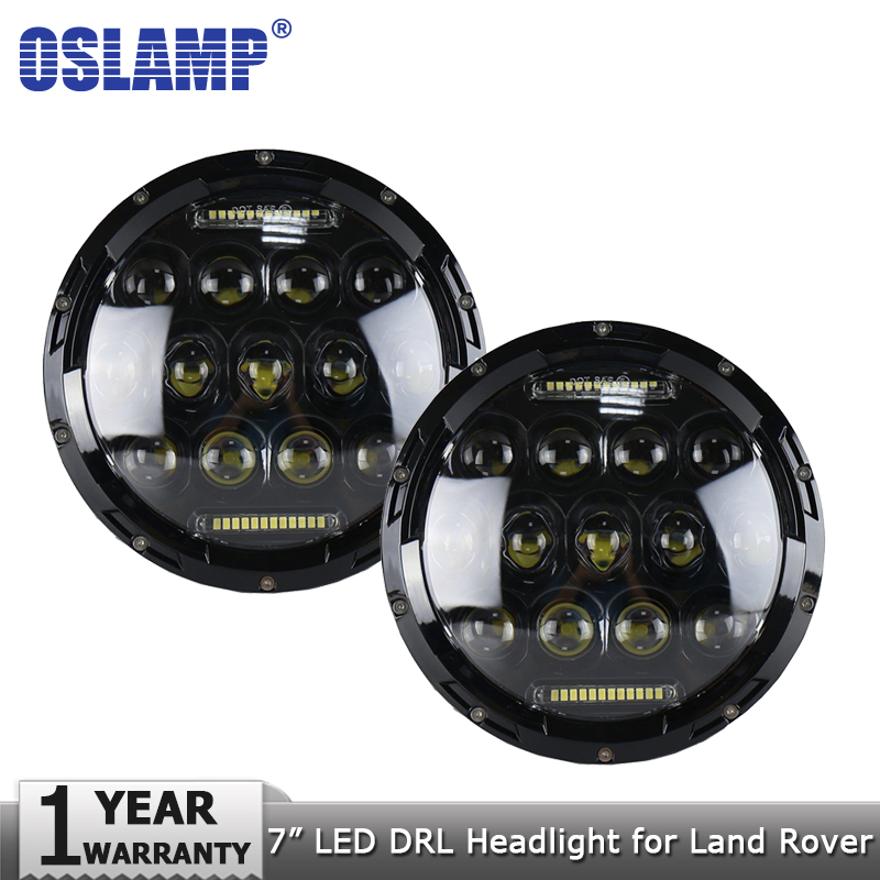 Oslamp 2pcs 7 75W LED Headlight Bulbs DRL Led Driving Light Hi lo H4 H13 Headlights with Canbus for Land Rover Defender 90&110